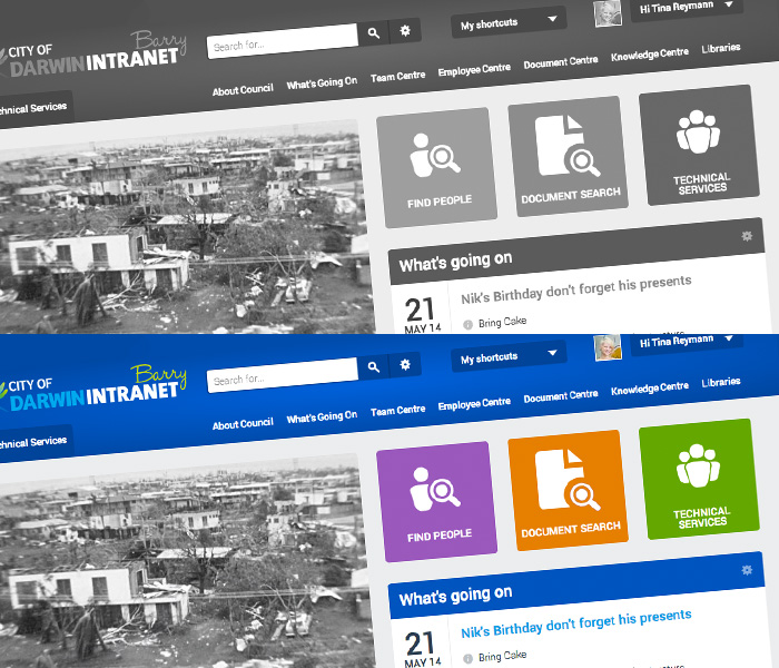 Website screenshot of COD intranet